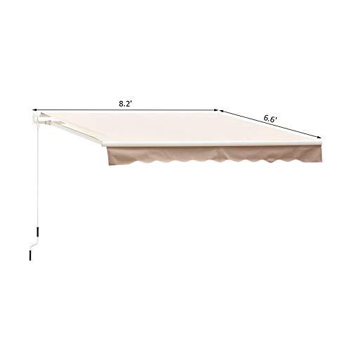 Outsunny 8' x 7' Patio Manual Retractable Sun Shade Awning - Cream