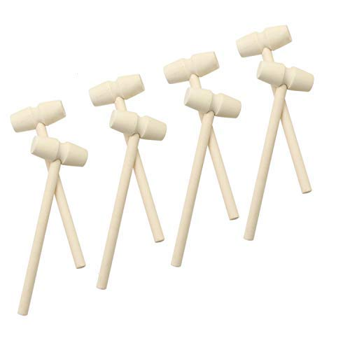 JETEHO Set of 10 Wooden Crab Mallet Seafood Lobster Shellfish Cracker Hardwood Hammer for Leather Craft, Jewelry Making -