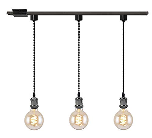 Pendant Three Holder Light - Kiven 3-Light H System Track Mini Pendant, Pearl Black Finish Lamp Holder Fitting Track Light Kit, Rose Pendant Braided Fabric Flex Cord Length 31.5 in,TB0123-80CM
