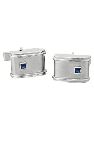 14K White Gold Satin Finish Cufflinks With Sapphire-86459 - Sapphire White Gold Cufflinks