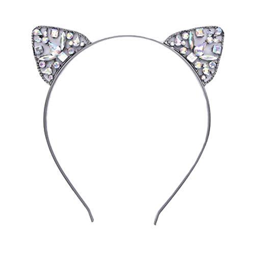 Dream Amy Kitty Cat Sequin Ear Headband Hair Band Fluffy Hair Hoop Headband for Party and Daily Decoration A (Black) ()