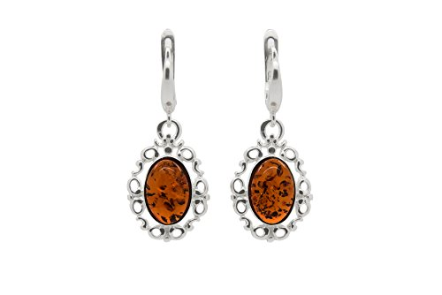 925 Sterling Silver Filigree Leverback Dangle Earrings with Genuine Natural Baltic Cognac Amber.