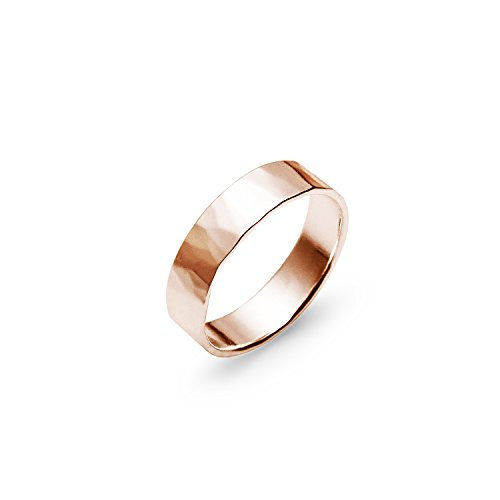 Hammered Polish Plain Comfort Fit Wedding Band Ring Sterling Silver, Size 7 ()