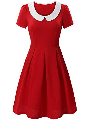 KIRA Womens Doll Collar Wear to Work Short Sleeve A-Line Party Dress -