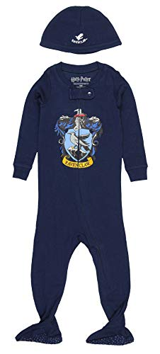 INTIMO Harry Potter Baby Pajamas Set Footed Jammies with Beanie Hogwarts House Ravenclaw (12 ()
