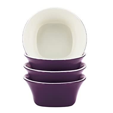 Rachael Ray Round and Square Dinnerware 4-Piece Fruit Bowl Set, Purple