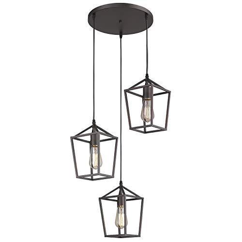 Emliviar 3-Light Pendant Lighting, Cluster Pendant Hanging Light for Kitchen Dining Room, Oil Rubbed Bronze Finish, 20065D-3 ORB (Lighting Lantern Interior)