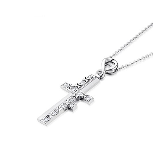 Beydodo Women Necklace,18k Real White Gold 2.44g Cross ''Love Forever'' Round Brilliant Diamond Necklace by  (Image #1)