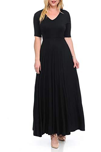 BellaTi Double Layered V Neck Short Sleeve Maxi Dress BLK-1XS