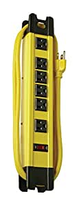 Coleman Cable 04657 6-Outlet Metal Power Strip, Heavy Duty Design, with 15-Feet