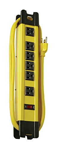 Coleman Cable 04657 6-Outlet Metal Power Strip, Heavy Duty Design, with 15-Feet ()