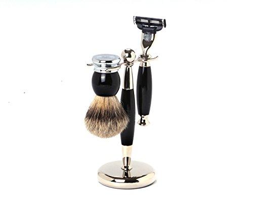 Hans Baier - Shaving Set Razor, Shaving Brush Silvertip, Holder Black/Chrome ()