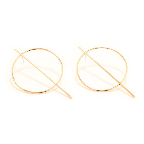 Geerier Gold Circle Stud Earrings Big Hoop Bar Stud Earrings Simple Circle Ring Earring Gift for (Korean Style Earrings)