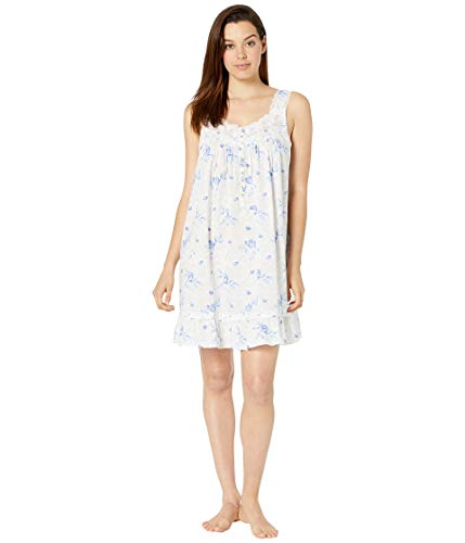 Eileen West Women's Cotton Woven Lawn Sleeveless Short Chemise White Ground Floral with Shadow Leaf X-Large (Eileen Short West)