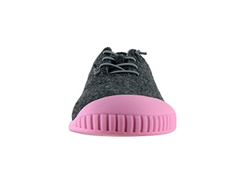 Fit Sole Slipper Wool Dualyz 100 Unisex Removable Shoe Grey with Pink Dark 8qIqwdtxB