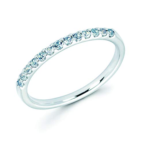 14K White Gold 1/6 Cttw Genuine Aquamarine Stackable 2MM Wedding Anniversary Band Ring - March Birthstone, Size 5