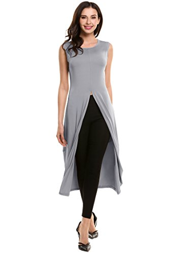 87811e082 HOTOUCH Women Sleeveless Front Split Clubwear Long T Shirts Tunic ...