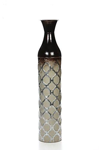 Hosley Metal Brown Grey Tones Moroccan Embossed Floor Vase, 28.5