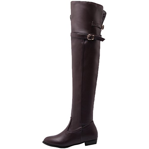 Boots Boots HooH the Knee Over Riding Women Knee Buckle Zipper Boots Brown High CtTqAw