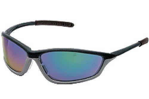 Safety Protective Eyewear, Onyx Graphite Gray Frame, Blue Diamond Mirror Lens by MCR Safety
