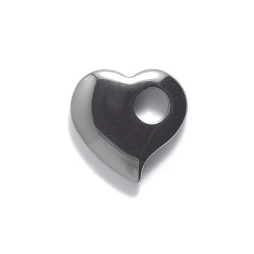 Shipwreck Beads Focal Hematite Curved Heart with Large Hole 20-mm, -