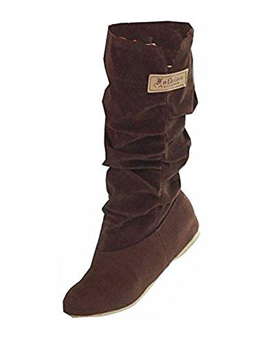 Minetom Mujer Otoño Invierno Elegante Casual Zapatos Planos Rodilla Botas Slouchy Botas De Nieve Dulce Botas Largas Marrón