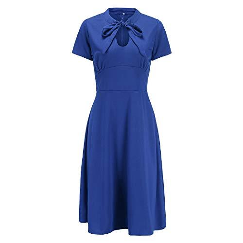 Ez-sofei Women's 1940s Vintage Keyhole Bowtie Front Cocktail Swing Dress XL Blue
