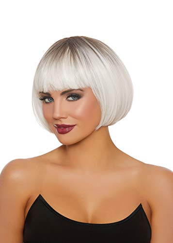 Dreamgirl Women's Dip Dye White/Gray Short Bob Wig, One Size