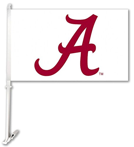 BSI NCAA Alabama Crimson Tide Car Flag A Red with White Background with Free Wall Brackett (Flag Tide Car Crimson Alabama)