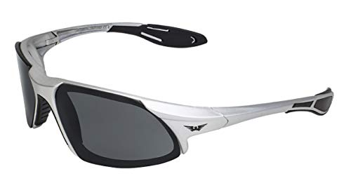 Global Vision Eyewear Code-8 Series Sunglasses with Silver Frame and Smoke Safety Lenses