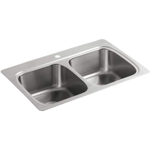 KOHLER 5267-1-NA Verse 33'' X 22'' X 9-1/4'' Top-Mount Double-Equal Bowl Kitchen Sink With Single Faucet Hole, Stainless Steel by Kohler
