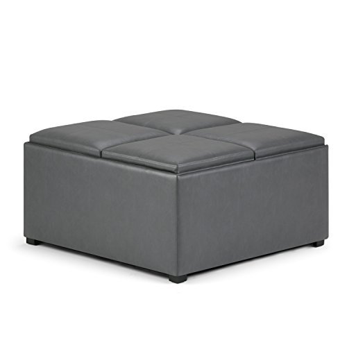 Simpli Home AY-F-07-G Avalon 35 inch Contemporary Square Storage Ottoman in Stone Grey Faux Leather