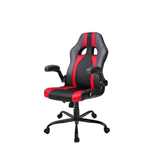 (YXHUI Swivel Chair, Office Swivel Chair, Computer Swivel Chair, Executive high Back Racing Game Chair, PU Leather and mesh, Blue, red Good Mood, Good Life (Color : Red))