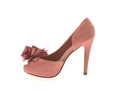 WOMENS FLOWER PASTEL PEEP TOE FAUX SUEDE PLATFORM OPEN SIDED STILETTO HEEL SHOES LADIES PINK SIZES 5 Ypnt5R
