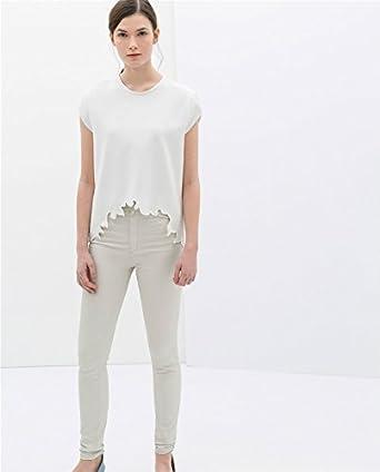 Zara de color blanco ajuste en el dobladillo bajo asimétrica tamaño de la funda de costura para camisetas de mujer T-camiseta de manga corta blusa de: pequeño: Amazon.es: Ropa y accesorios