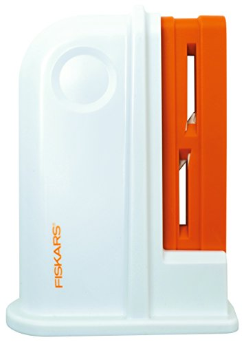Fiskars Scissors Sharpener, Plastic, White/Orange, 9 x 4 x 13.8 cm