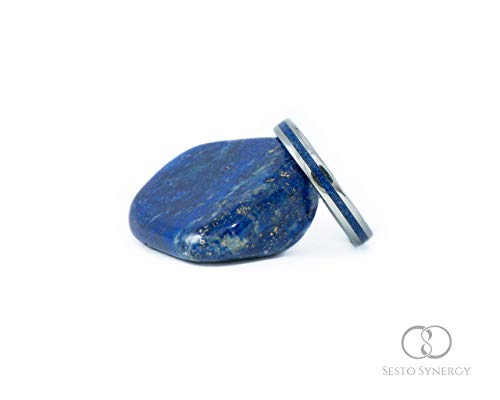 Titanium Ring with Central Lapis Lazuli Mineral Stone Inlay. 3 mm.
