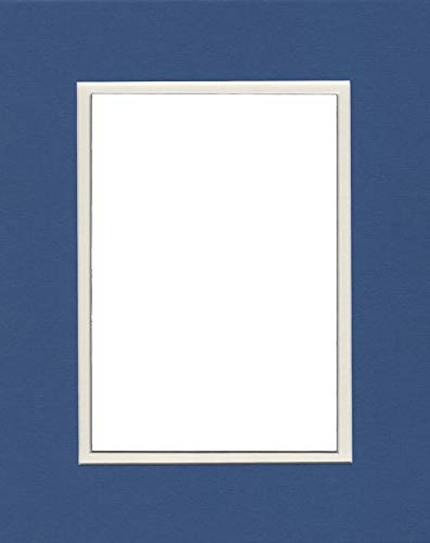 Pack of (2) 22x28 Double Acid Free White Core Picture Mats Cut for 18x24 Pictures in Royal Blue and Gold