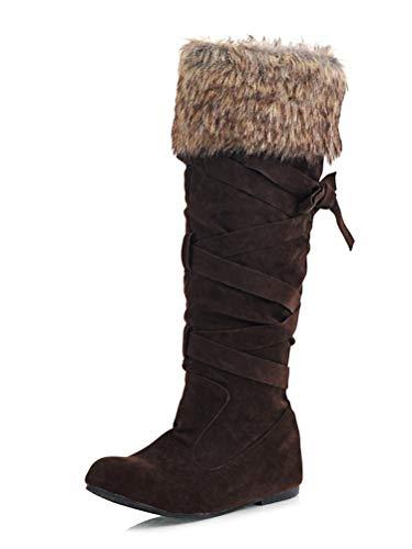 Minetom Gamuza Tacón Invierno Botas De Mujer Casual Calentar Planas Largas Altas Otoño Retro Felpa Marrón Grueso Zapatos rgxAqrIU