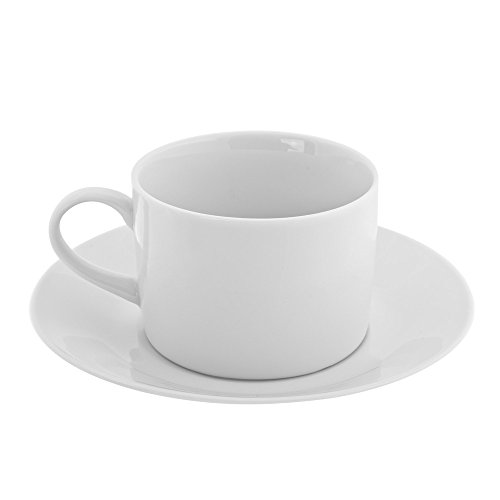 10 Strawberry Street Royal White 8 Oz Can Cup and Saucer, Set of 6, White