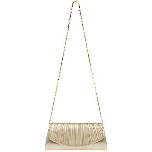CASPAR TA398 Damen elegante Glitzer Glanz Clutch Tasche Abendtasche mit stylischem Falten Dekor Champagner