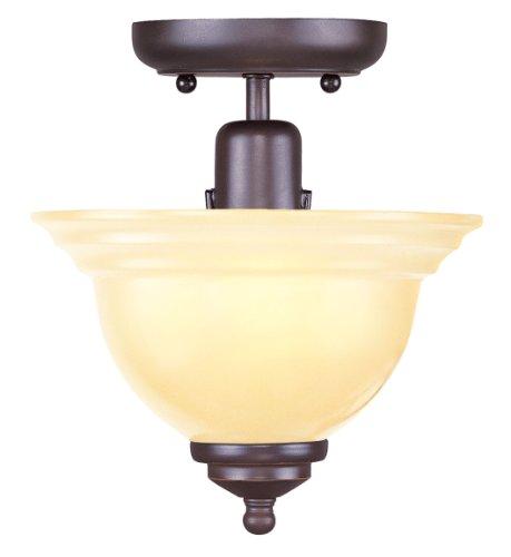 Livex Bronze Flush Mount Light Fixture (Livex Lighting 4250-67 Flush Mount with Iced Champagne Glass Shades, Olde Bronze)