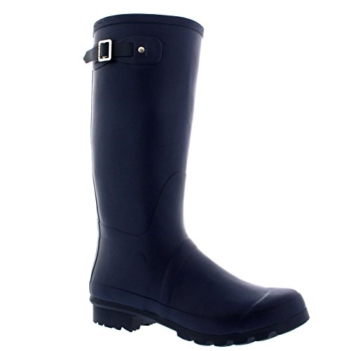 Mens Original Tall Plain Fishing Garden Rubber Waterproof Wellingtons - 8 - NAV41 BL0181
