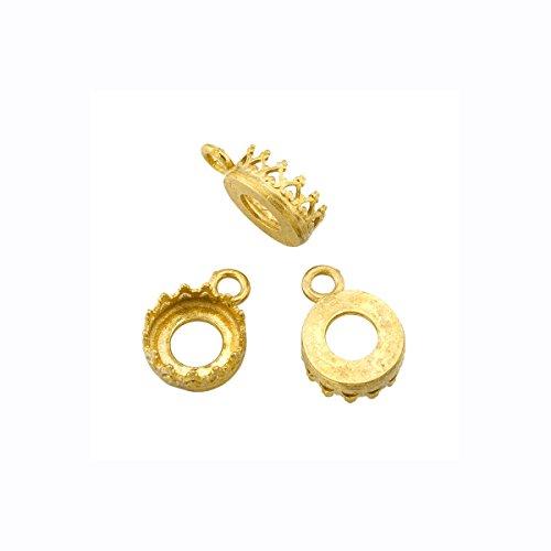 Brass Round Bezel - 10 Pack - Round Bezel Cup Settings Brass 8 Mm Findings Pendant Earring Ring Charm 365