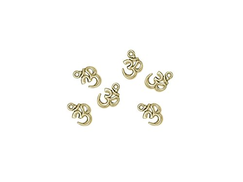 Tierracast Drops Charms - 10 Pcs 22K Gold Plated OM Ohm Aum Pewter Charms Pendants by Tierracast
