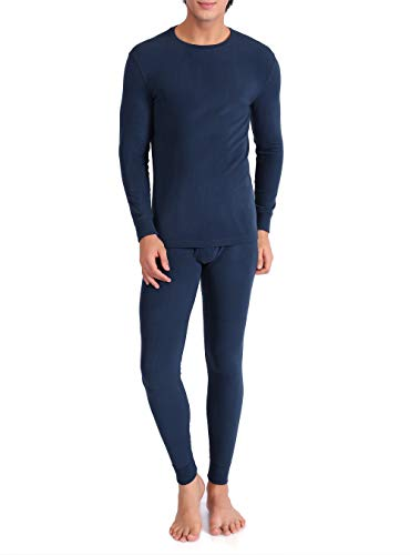 (David Archy Men's Ultra Soft Winter Warm Base Layer Top & Bottom Fleece Lined Thermal Set Long John(M, Navy Blue))