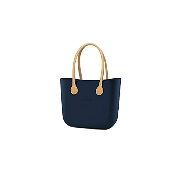 Borsa O Bag grande blu manici eco pelle beige e sacca 1