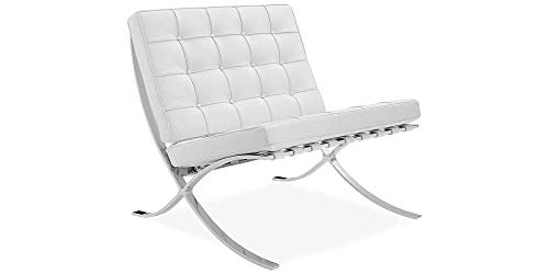 ModStone - Barcelona Pavilion Lounge Reception Love Seat Chair White Top Grain Leather by Mies Ven Der Rohe