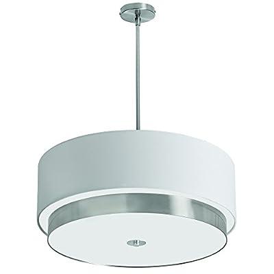 Dainolite Lighting LAR-204LP-SC 4-Light Large Pendant, White Linen Shade