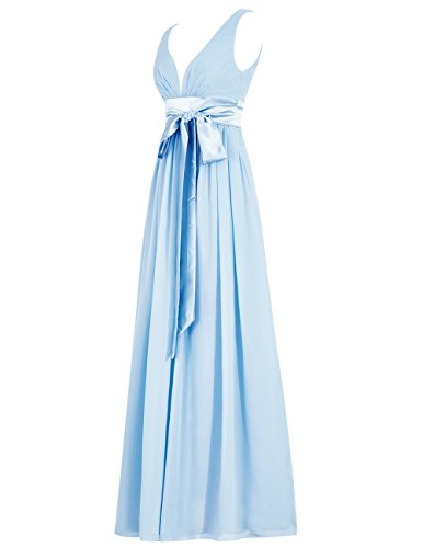 Dresstells®Vestido Largo V Cuello Con Lazo Para Dama De Honor Champán